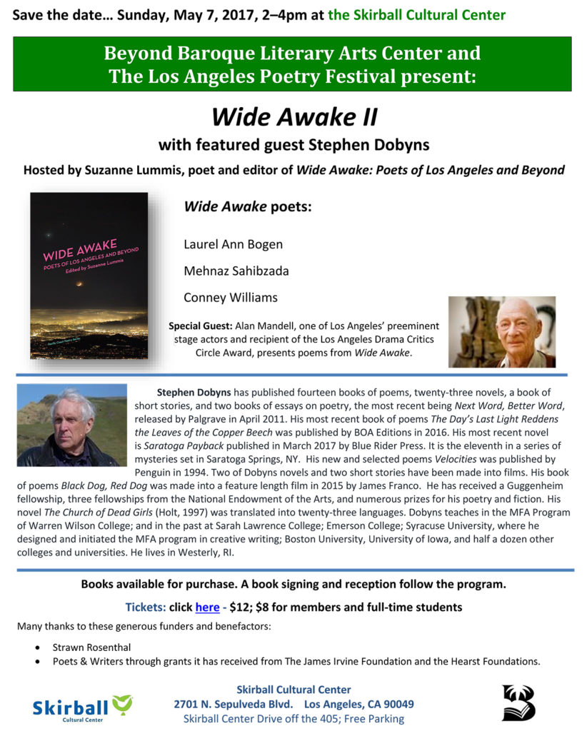 Flyer for poetry at the Skirball, May 7 2017